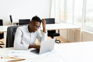 Thoughtful young african american businessman